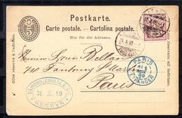 SUIZA  1889. CARTE POSTALE. CARTOLINA POSTALE.   CIRCULADA DE GENEVE A PARIS   CECI 3  Nº178 - Entiers Postaux