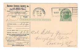 UX27 Railway Express Agency Serrated Postal Card Chattanooga TN 1943 Delivery Notice - Postal History
