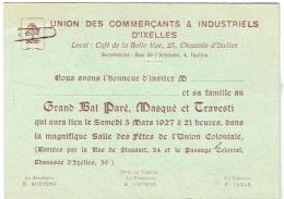Ixelles. Union Des Commercants. Bal Paré,Masqué Et Travesti. Salle De L'Union Coloniale, Rue De Stassart. 1927. - Faire-part