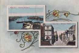 MALTE / MALTA . 2 Vues : Grand Harbour   / Strada Reale - Malte