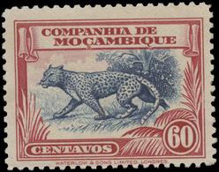 Mozambique Company Scott #184, 60¢ Carmine & Blue (1937) Leopard, Mint Hinged - Mozambique