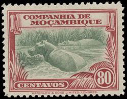 Mozambique Company Scott #186, 80¢ Carmine & Pale Green (1937) Hippopotami, Mint Hinged - Mozambique