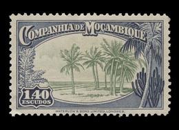 Mozambique Company Scott #189, 1.40e Dark Blue & Pale Green (1937) Coconut Palms, Mint Hinged - Mozambique