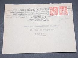 FRANCE - Type Iris Perforés SG Sur Enveloppe Commerciale De Paris En 1946 - L 18369 - Perforés