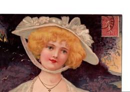 Illustrateur  Kopal.  Portrait De Jeune Femme Avec Chapeau. - Otros Ilustradores