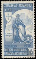 Mozambique Company Scott #201, 1.75e Blue & Light Blue (1940) King Alfonso Henriques, Mint Hinged - Mozambique