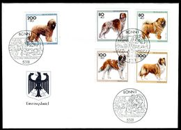 00625) BRD - Mi 1836 / 1840 - FDC - Hunderassen, Jugend 96 - FDC: Brieven