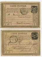 2 CARTES PRECURSEUR AVEC TIMBRE TYPE SAGE 15 Ct GRIS N° 77 POUR AMSTERDAM- OBLITERATION PARIS 1877 - Marcophilie (Lettres)