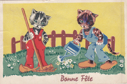 Carte Postale Ancienne,BONNE FETE,chats ,chat,apparence Humaine,jardinier,métier, Cat,humain - Chats