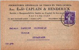 75 PARIS : Etablissements CAPLAIN & HENDERICK , Rue Saucier Leroy - Oblitération (entiers Postaux ) - Xertigny