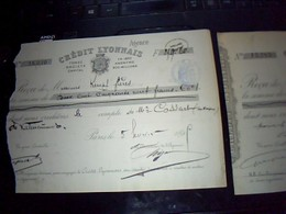 2 Recus Du Credit Lyonais De Valencienne Annee 1899 Et 1895  Mr Cossart De Haspres - Chèques & Chèques De Voyage