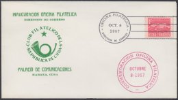 1957-FDC-110 CUBA REPUBLICA. FDC 1957. PALACIO DE COMUNICACIONES. OFICIAL CACHET. - FDC