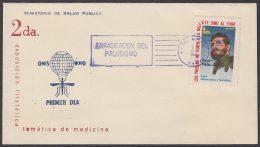 1962-CE-23 CUBA 1962 SPECIAL BLUE CANCEL. FIDEL CASTRO CINDERELLA. EXPO SALUD PUBLICA MEDICINE. PALUDISMO MALARIA. - Cuba