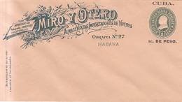 Cuba Año 1899 Entero  Postal No Circulado  Miro Y Otero Alamanistas De La Habana - Covers & Documents
