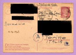 Storia Postale -  Franchigia Dalla Germania Per L'Italia 1944 (SP5) - 1900-44 Vittorio Emanuele III