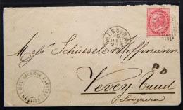DCCX003 REGNO- LETTERA DA MESSINA PER VEVEY SVIZZERA CON 40 CENT - 16 DIC 1874 - AMBULANTE SVIZZERA AL RETRO - 1861-78 Victor Emmanuel II