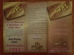 Maxium Casino - Las Vegas, NV - Rare Club Max Brochure & Blank Application Form - Casino Cards