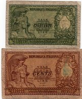 ITALIA-50,100 LIRE-1951- P-91,92 - 50 Lire