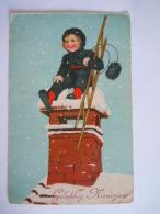 Gelukkig Nieuwjaar Schoorsteenveger Ramoneur Gelopen Circulée 1930 Printed In Saxony 09 Pli Légé Plooitje - Nouvel An