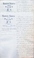1885 , DOS DOCUMENTOS CON MEMBRETE DEL REGIMIENTO DE INFANTERIA DE LA REINA Nº 2, FIRMA DEL CORONEL DEL REG. - Documentos Históricos