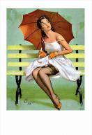 Pin Ups Of GIL ELVGREN Postcard RPPC - (171) Queen's Rain, 1962 - Size 15x10 Cm.aprox. - Pin-Ups