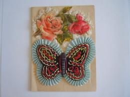 Dubbele Kaart Carte Double Ruban Lint Papillon Vlinder Roses Rozen Dentelle Format 10,5 X 14 Cm - Embroidered