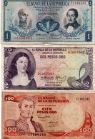 COLOMBIA 1,2 PESOS ORO-1973,74-100 PESOS ORO -1991  P-404,413,426 - Colombia