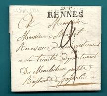 Ille Et Vilaine - Rennes Pour La Poste Restante à Josselin (Morbihan). 1823 - Marcophilie (Lettres)
