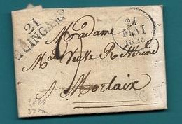 Cotes Du Nord - Guingamp Pour Morlaix (Finistère). LAC De 1828 - Marcophilie (Lettres)