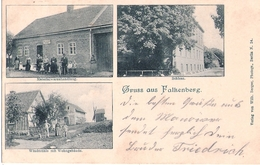 Gruss Aus FALKENBERG Windmühle M Wohngebäude Mill Materialwaren Schloß Ortsstempel UCKRO 25.9.1902 Gelaufen - Falkenberg (Mark)
