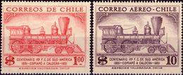 CILE 1954 - 1a FERROVIA IN SUDAMERICA, COPIAPO' A CALDERA - SERIE COMPLETA NUOVA MLH* - Chili