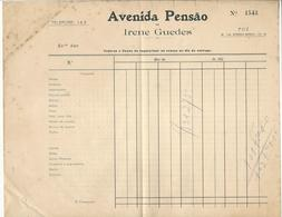 Invoice * Portugal * Avenida Pensão De Irene Guedes * Foz * 20's * Holed - Portugal