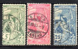 564 - 490 - SVIZZERA 1900 , UPU Serie Unificato N. 86/88 Usata - Oblitérés