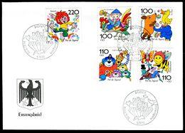 00649m) BRD - Mi 1990 / 1994 - FDC - Trickfilmfiguren I, Jugend 98 - FDC: Brieven
