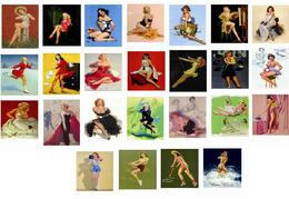Pin Ups Of AL BUELL Postcard RPPC  - COLLECTION OF 25 DIFFERENTS POSTCARDS  Size 15x10 Cm.aprox. - Pin-Ups