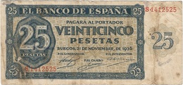 España - Spain 25 Pesetas 21-11-1936 Pick 99a Ref 685-2 - [ 3] 1936-1975: Franco