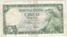 España - Spain 5 Pesetas 1954 Pick 146a Ref 1683 - [ 3] 1936-1975 : Regency Of Franco