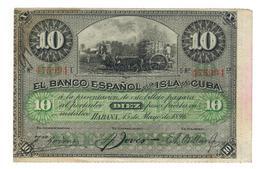 Cuba 10 Pesos 1896,   W/o Plata On Reverse. VF+. - Cuba