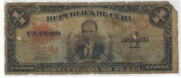 Cuba 1 Peso 1938,  G/VG,  Free Econ. Ship. To USA , NO PAYPAL. - Cuba