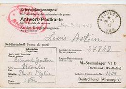 VAR CPFM PRISONNIER 1943 NEOULES RECETTE DISTRIBUTION => STALAG VI D = DORTMUND WESTFALEN  ( MUNSTER ) ALLEMAGNE - 1921-1960: Moderne