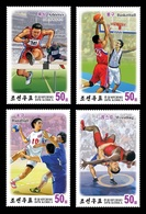 North Korea 2018 Mih. 6485/88 Sport. Athletics. Basketball. Handball. Wrestling (with 3D-effect) MNH ** - Korea, North