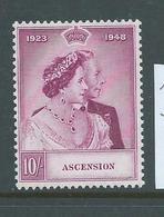 Ascension 1948 Royal Silver Wedding 10/- Single FM - Ascension