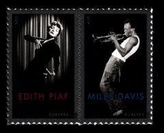 USA, 2012 Scott #4692-4693, Edith Piaf And Miles Davis, Forever Pair, MNH, VF - Ongebruikt