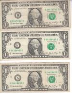 2286    LOT  USA    3  X  ONE  DOLLAR - United States Of America