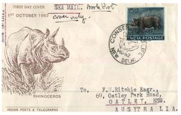 (151) India FDC Cover - Rhinoceros - Posted By Sea Mail To Australia - 1962 - Rhinozerosse