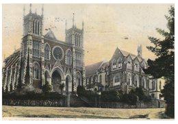 (151) New Zealand Vere Old Postcard With Stamp - Dunedin St Joseph's Cathedral & Convent - Rhinozerosse