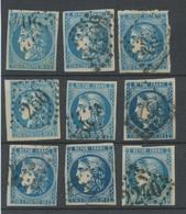 Lot De 9 Bordeaux N°46 20c Bleu. Qualité TTB, TB. L165 - 1870 Emissione Di Bordeaux