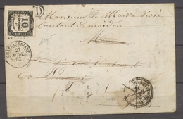 1862 Lettre N°14 Petit Chiffre Taxée 10c . A VOIR. Signée Baudot. X1367 - Marcophilie (Lettres)