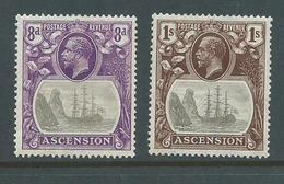 Ascension 1924 Badge Of Colony Definitives 8d & 1/- FM - Ascension