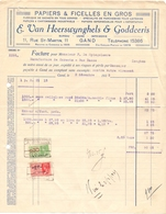 Factuur Facture - Papiers & Ficelles - E. Van Heerswynghels & Godderis - Gand Gent 1935 - Printing & Stationeries